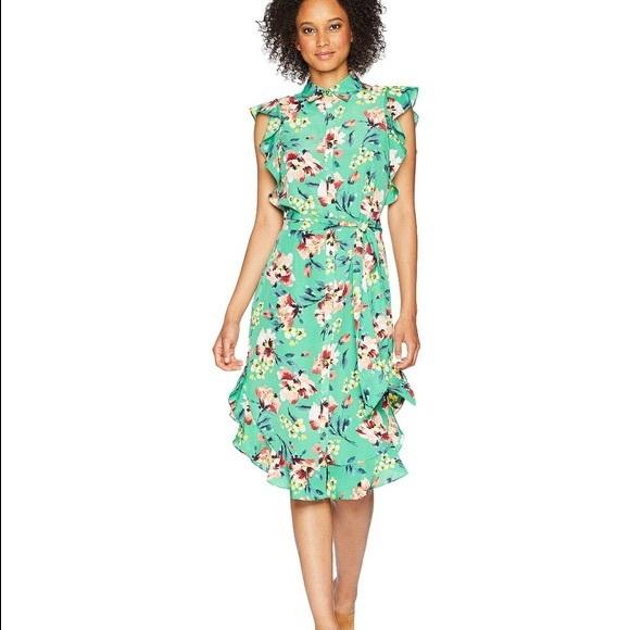 Lauren Ralph Lauren Dresses & Skirts - Ralph Lauren Green Crepe Floral Dress